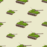 Military tank seamless pattern. Background with transport for army, vector illustration Stock Images