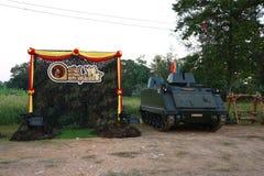 Military tank show ground, sky background stock photos