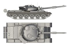 376dee26bf652 Military tank side and top view isolated on white. 3d rendering stock  illustration