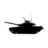 Military tank silhouette. Howitzer icon. Vector illustration Stock Photo