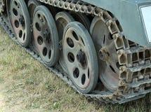 Military tank tracks during a war patrol Stock Image