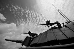 Military Tank Turret. Black & White, Horizontal, in Israeli Military based Stock Images