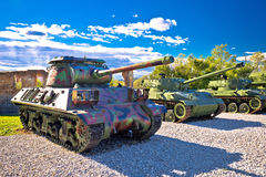 Military tanks in army park view Stock Photo