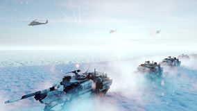 Military tanks and military helicopters move on a clear winter day on the battlefield. Produced in 4K stock illustration