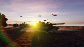 Military tanks and military helicopters move at sunset on the battlefield. Produced in 4K vector illustration