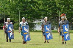 Military Tattoo  COLCHESTER ESSEX UK 8 July 2014:   Roman soldiers Stock Photo