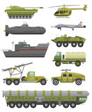 Military technic transport armor flat vector illustration. Royalty Free Stock Images