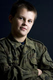 Military teenage boy portrait Stock Photo