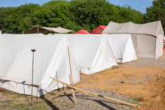 Military tent camp at historic festival Royalty Free Stock Images