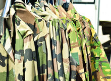 Military textile uniform camouflage sold on the market Royalty Free Stock Image