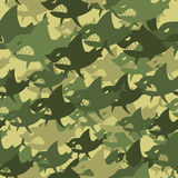 Military texture shark. Soldiers protective camouflage fish. Sea. Mless background of Army Green and Brown scary marine predator Royalty Free Stock Images