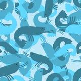Military texture shrimp. plankton Army seamless pattern. Protect Stock Image