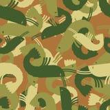 Military texture shrimp. plankton Army seamless pattern. Protect Royalty Free Stock Photos