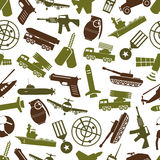 Military theme colors icons seamless pattern Stock Photo