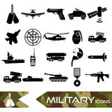 Military theme simple black icons set eps10 Royalty Free Stock Photo