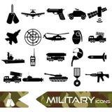 Military theme simple black icons set eps10 Royalty Free Stock Photo