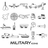 Military theme simple black outline icons set Royalty Free Stock Photo