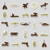 Military theme simple stickers icons set Royalty Free Stock Images