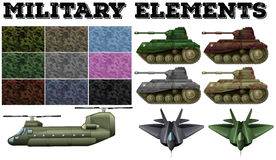 Military theme with tiles and tanks Stock Images