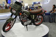 Military themed custom motorcycle on display Royalty Free Stock Image