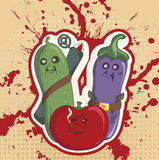 Military tomato, cucumber and eggplant Royalty Free Stock Photo