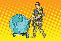 Military tourism, the mercenary with a cart Earth Royalty Free Stock Image