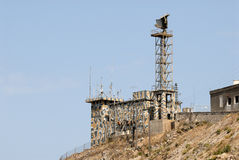 Military tower with radar Royalty Free Stock Photography