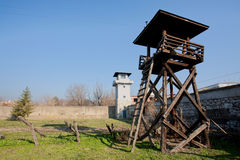 Military towers of the concentration camp Stock Photos