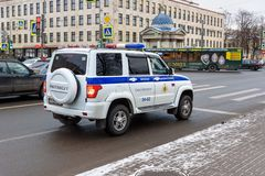 Military traffic police car on the street in Saint Petersburg, Russia. Saint Petersburg, Russia - January 11, 2018: Military traffic police car on the street in stock image