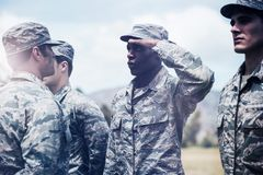 Military trainer giving training to military soldier royalty free stock photo