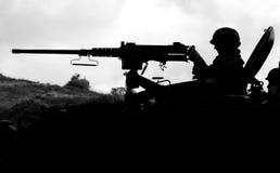 Military training combat. Black and white photo Stock Images