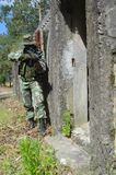 Military training combat. Cleaning urban areas Stock Photo