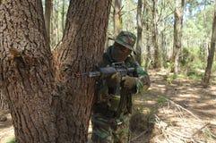 Military training combat. Florest action Stock Photo