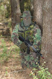 Military training combat. Forest environment Stock Photos