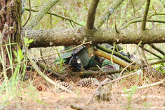 Military training combat. Portrait shot, forest/jungle environment Royalty Free Stock Photo