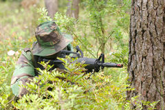 Military training combat. Forest/jungle environment Stock Photo