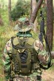 Military training combat. Portrait shot, forest/jungle environment Stock Image