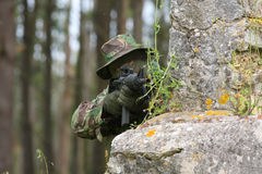 Military training combat. Cleaning urban areas Stock Photos