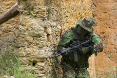 Military training combat. Cleaning urban areas Royalty Free Stock Photo