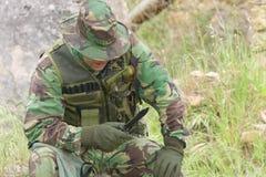 Military training combat. Portrait shot, forest/jungle amvironment Stock Images