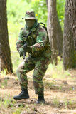 Military training combat. Forest environment Stock Images