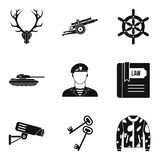 Military training icons set, simple style. Military training icons set. Simple set of 9 military training vector icons for web isolated on white background Royalty Free Stock Images