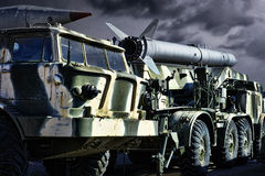 Military transport. Spoky military transport with rockets royalty free stock photos