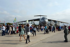 Military transport aircraft Il-76MD-90A at the air show MAKS 2013. Stock Images