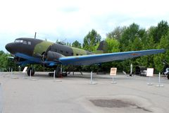 Military transport aircraft  LI-2 USSR on grounds of weaponry Royalty Free Stock Images
