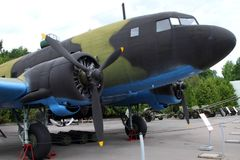 Military transport aircraft  LI-2 USSR on grounds of weaponry Royalty Free Stock Photos