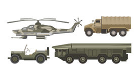 Military transport with armored corpus isolated illustrations set. Military transport with armored corpus isolated vector illustrations on white background Stock Photos