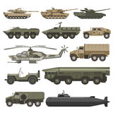 Military transport and army wartime machines vector isolated icons set. Military transport and army wartime machines. Vector isolated flat icons of helicopter Royalty Free Stock Photo