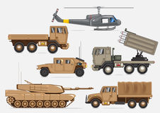 Military transport collection. Set of different military vehicles and helicopter on white background Vector Illustration