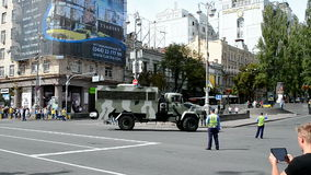 Military transport near Lenin monument taked down in 2014, Royalty Free Stock Images
